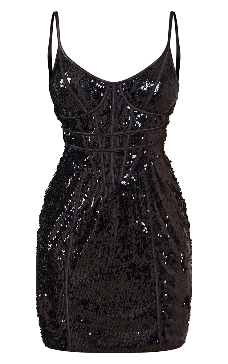 Petite Black Corset Detail Strappy Sequin Mini Dress 5
