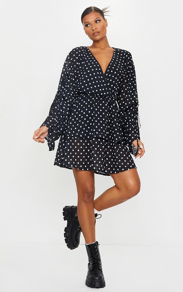 Black Polka Dot Ruched Sleeve Tiered Skater Dress 1