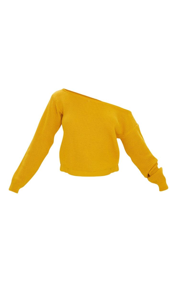 Pull court tricoté moutarde à épaules dénudées 3