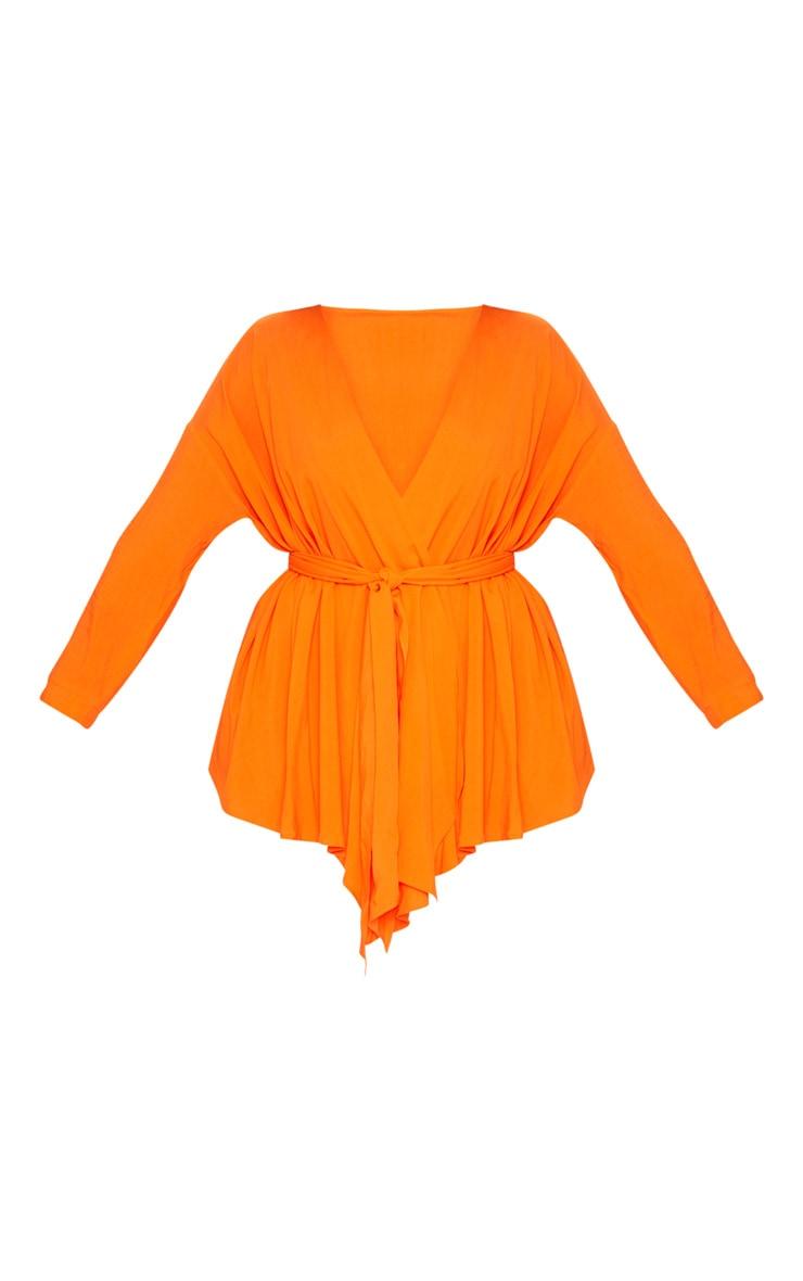 Plus Tangerine Woven Tie Waist Blouse 3