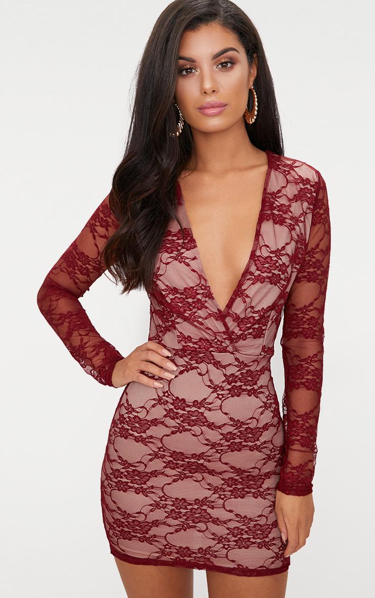 Burgundy Lace Long Sleeve Plunge Bodycon Dress  1