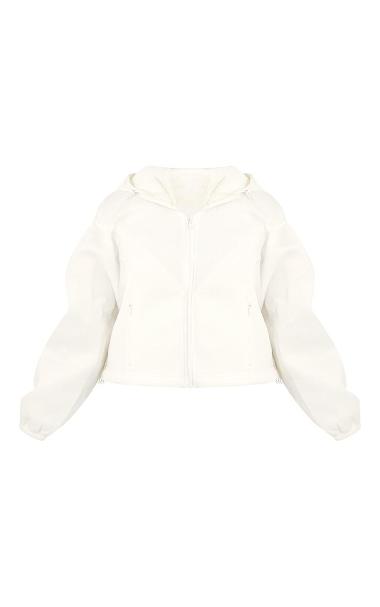 White Scuba Panel Hooded Toggle Hem Jacket 5