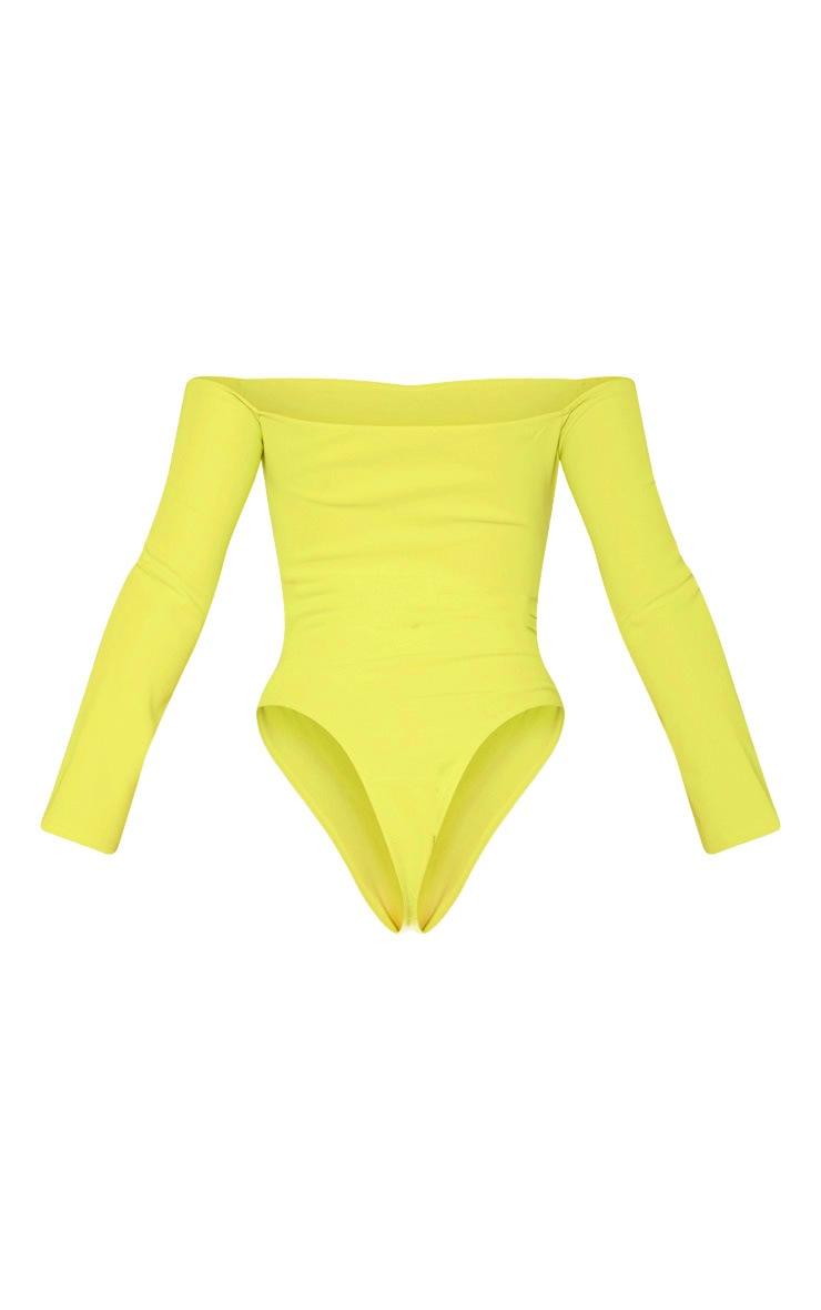 359a47222b Lime Bandage Bardot Cup Detail Bodysuit | PrettyLittleThing