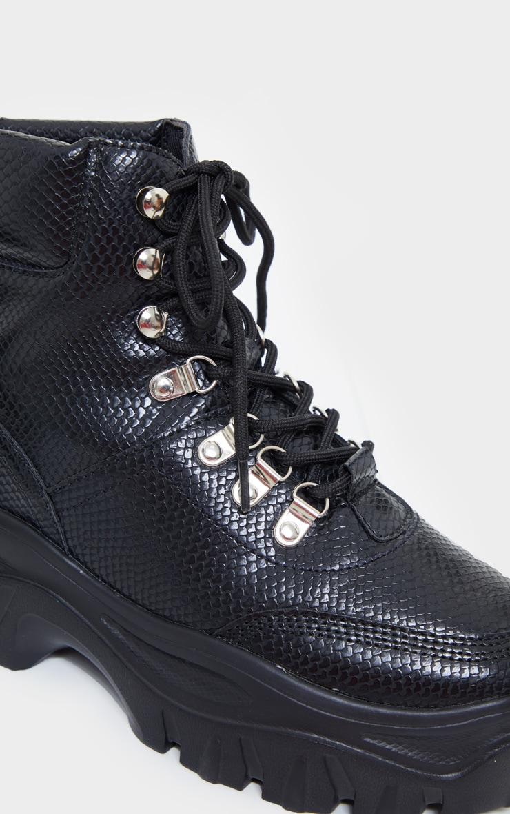 Black Wide Fit Flatform Chunky Hiker Boots 4