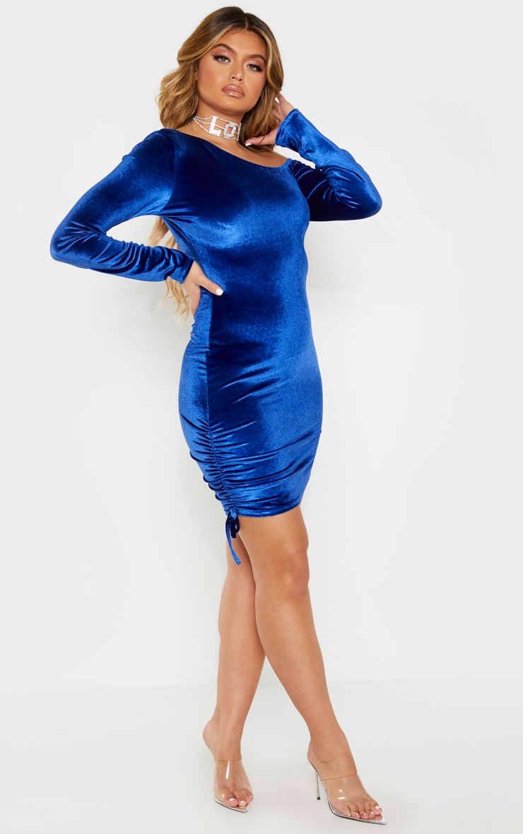 Cobalt Ruched Long Sleeve Bodycon Dress 4