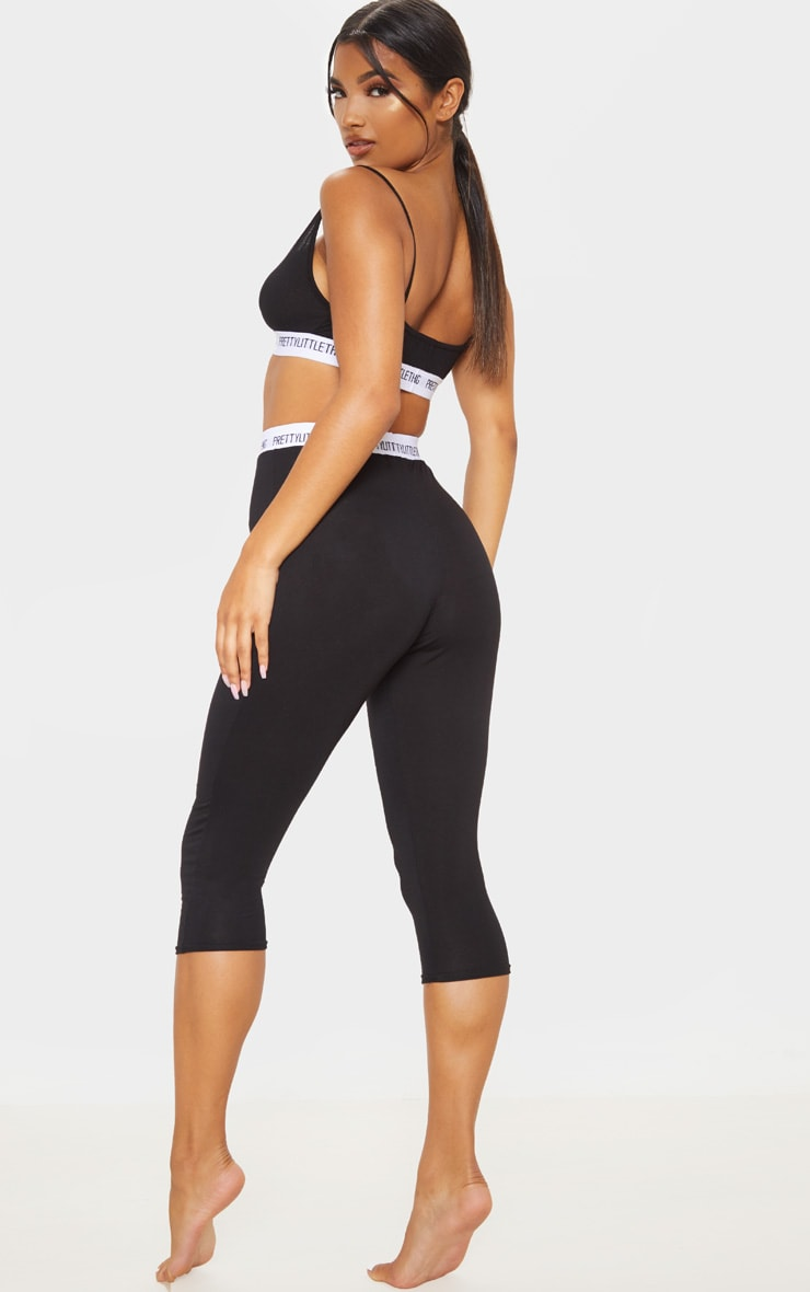 PRETTYLITTLETHING Black Bralet And Crop Legging PJ Set 2