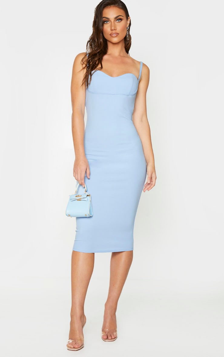 Baby Blue Strappy Cup Detail Midi Dress 1