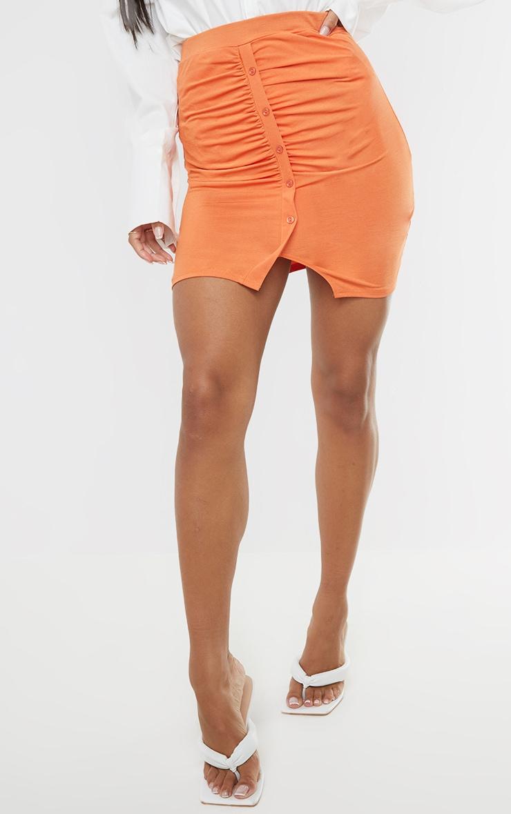 Burnt Orange Slinky Button Front Ruched Side Mini Skirt 2
