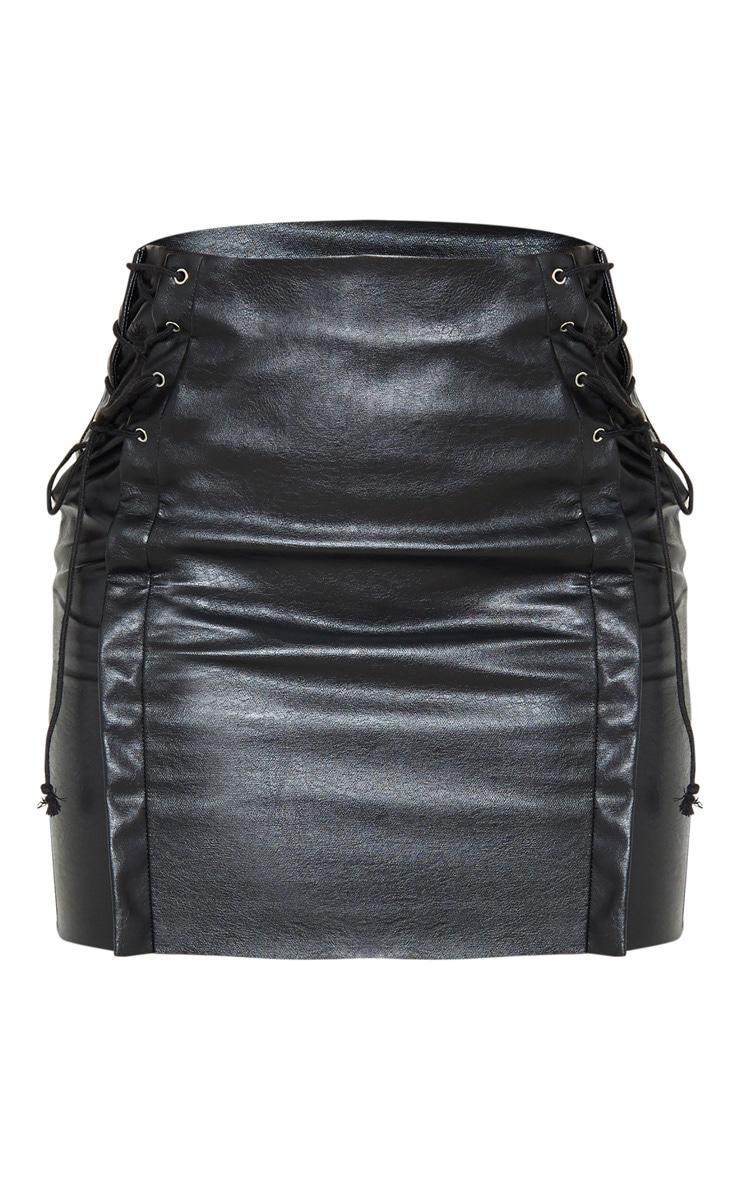 Petite Black Lace Up Side PU Mini Skirt 3