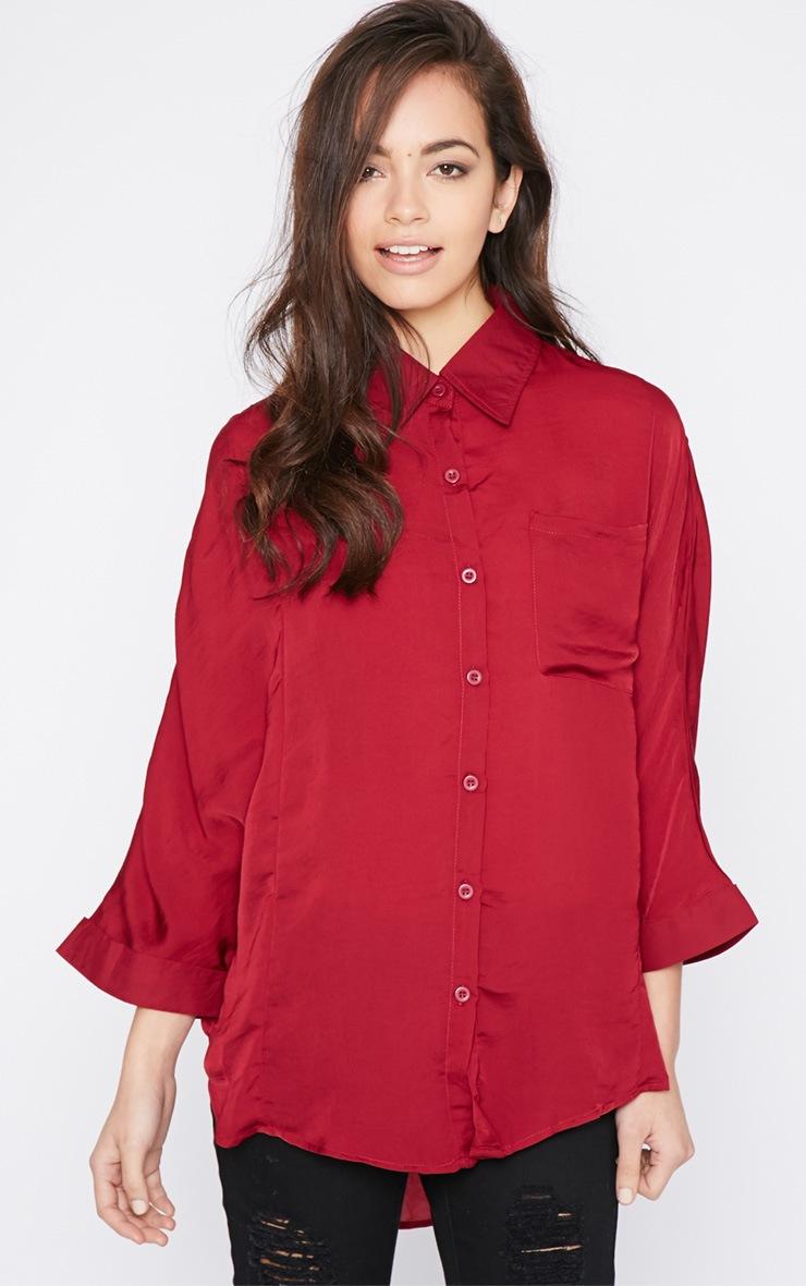 Melita Wine Dip Hem Batwing Sleeve Shirt 1