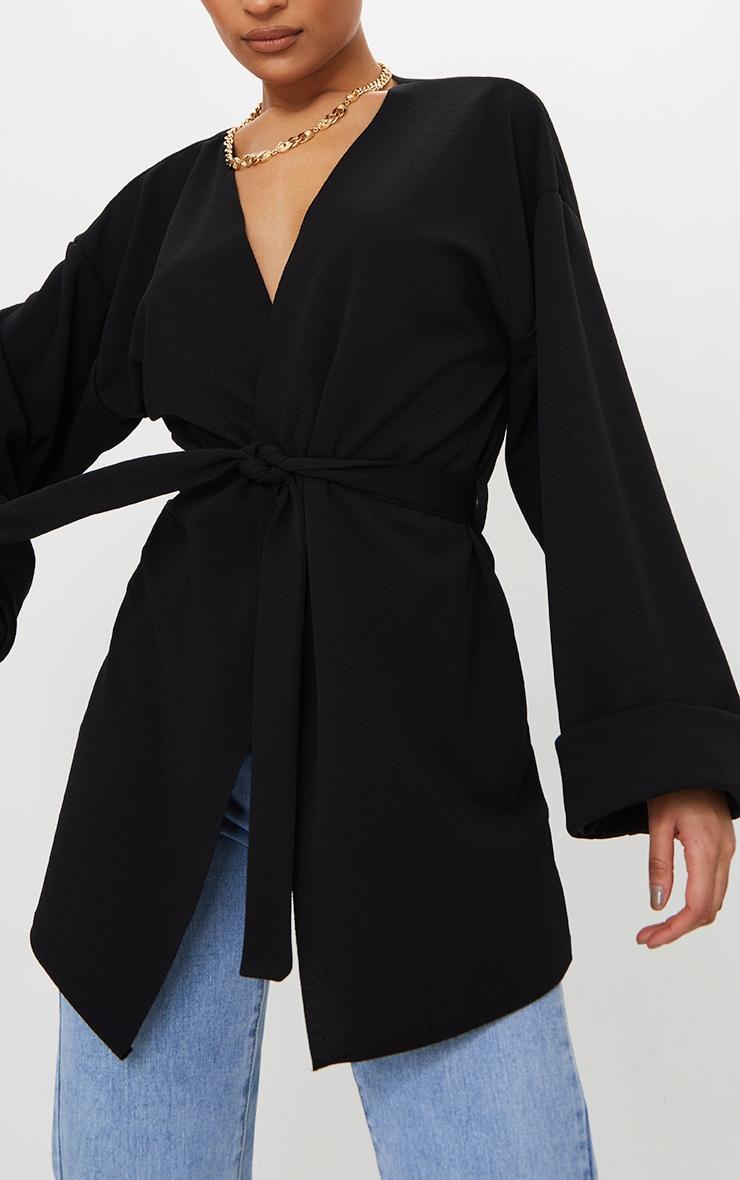Black Belted Oversized Sleeve Blazer 4