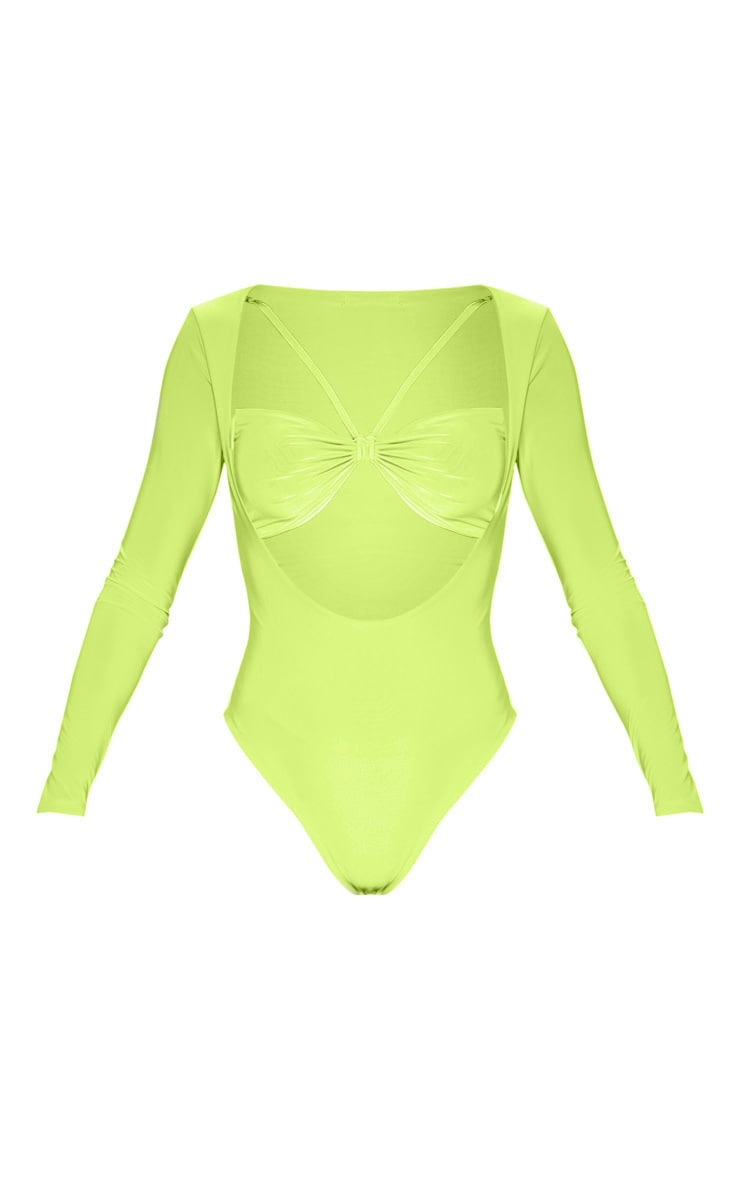 Neon Lime Slinky Front Cut out Bodysuit 3