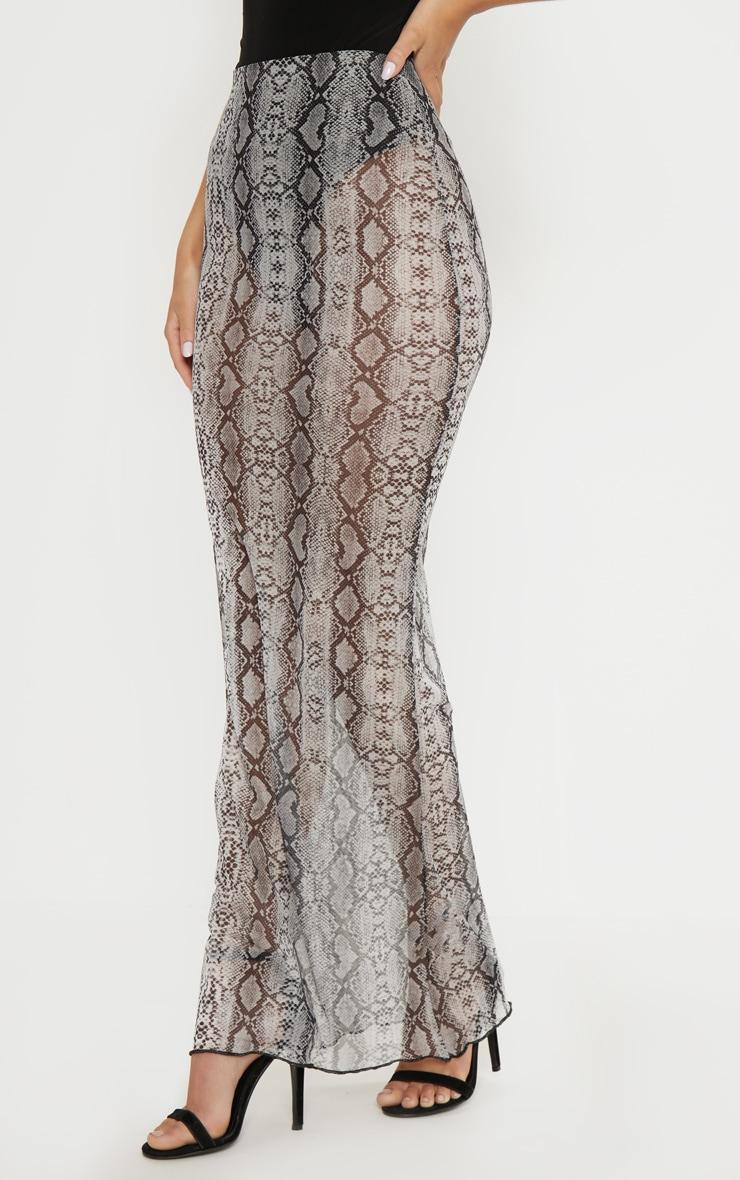 Grey Snake Print Mesh Maxi Skirt  2