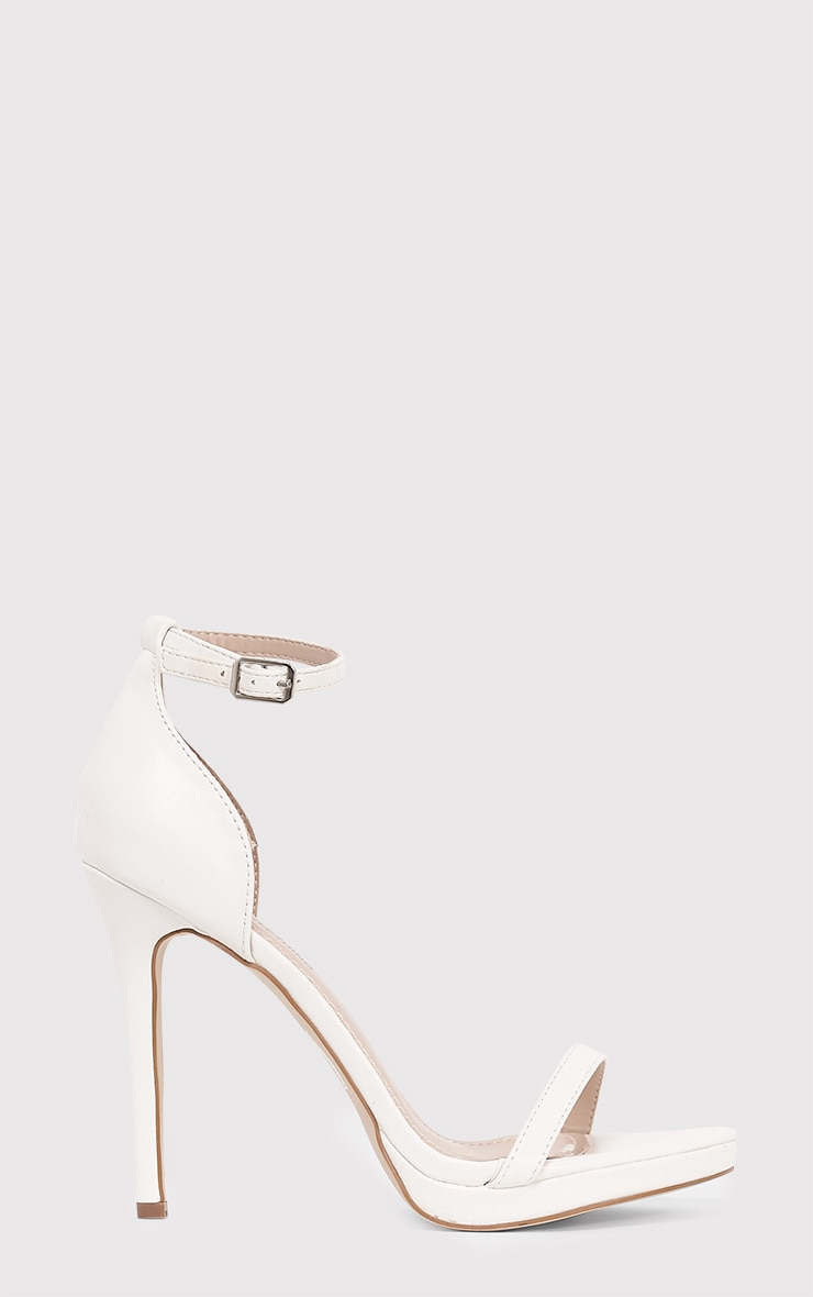Enna White Single Strap Heeled Sandals 3