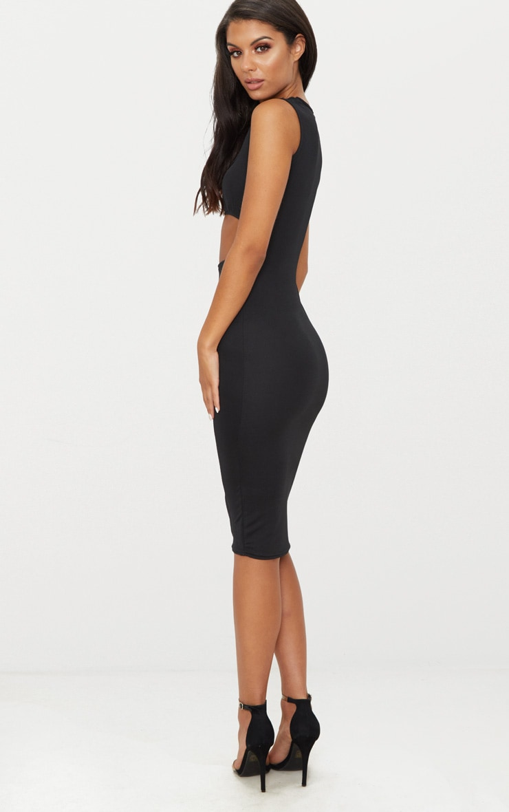 Black Square Neck Cut Out Midi Dress 2