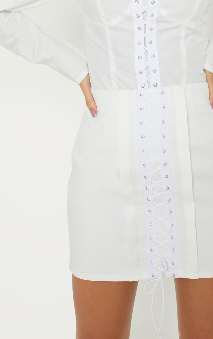 White Lace Up Detail Mini Skirt 6