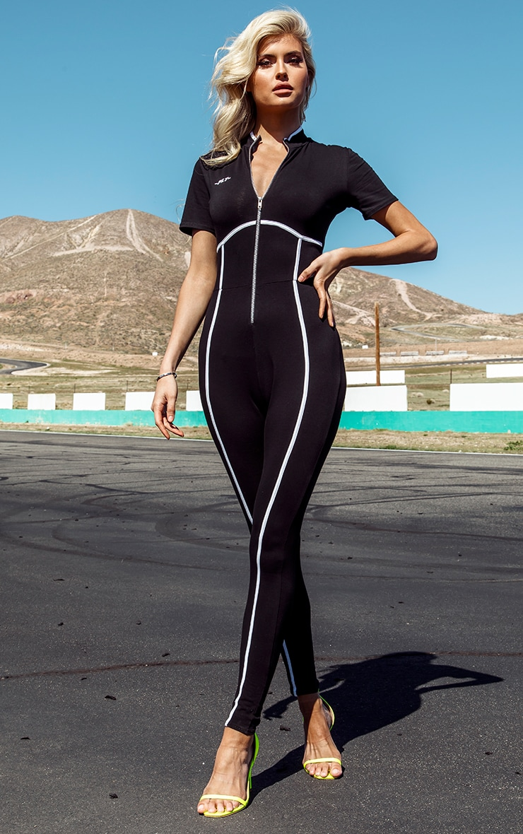 PRETTYLITTLETHING Tall Black Zip Up Binding Detail Jumpsuit 1