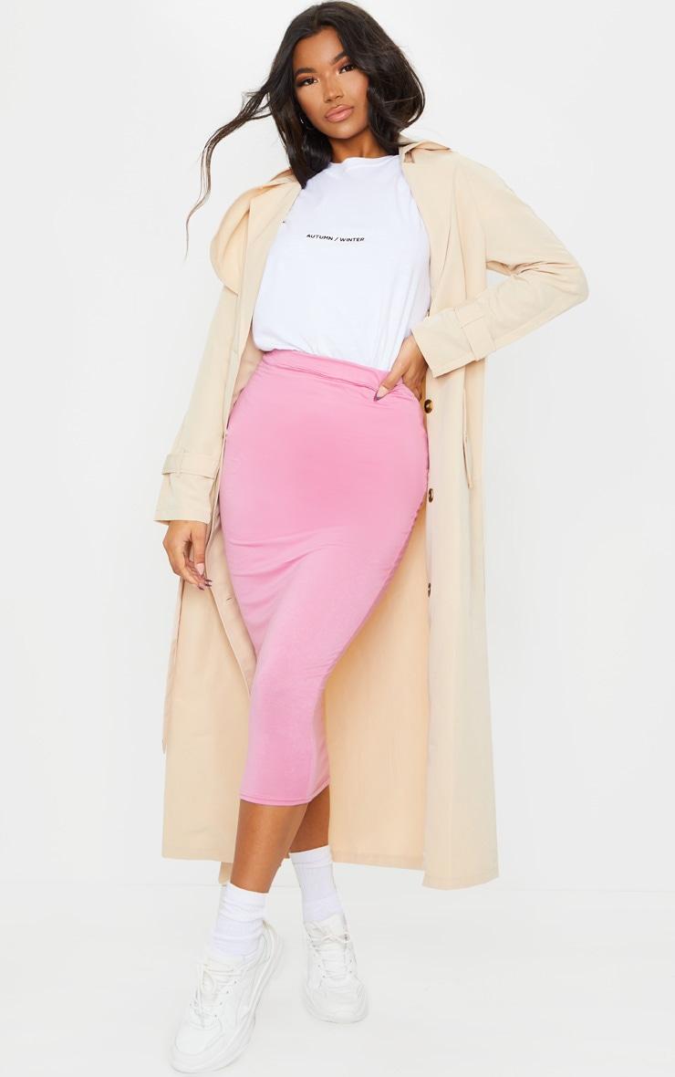 Dusty Pink Ultimate Jersey Longline Midi Skirt 1