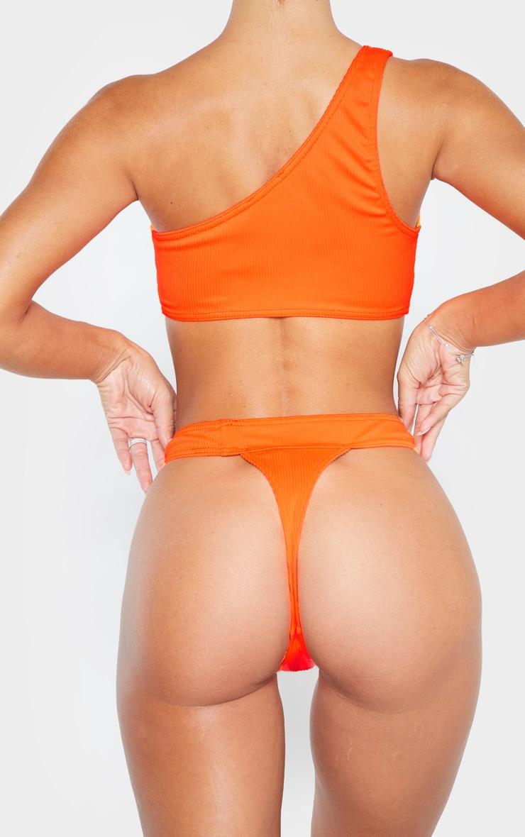 Orange Ribbed Thong Bikini Bottom 3