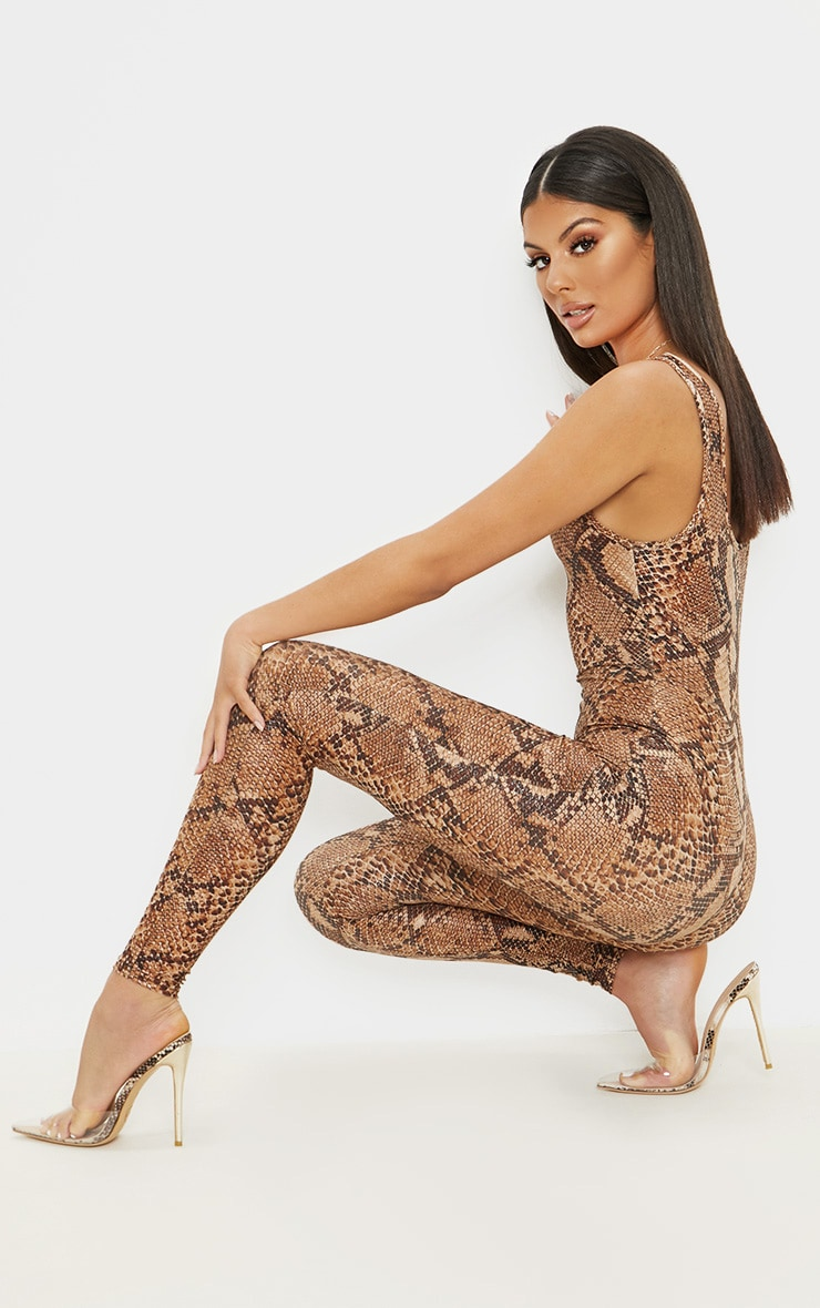 Brown Snake Print Glitter Square Neck Jumpsuit 4