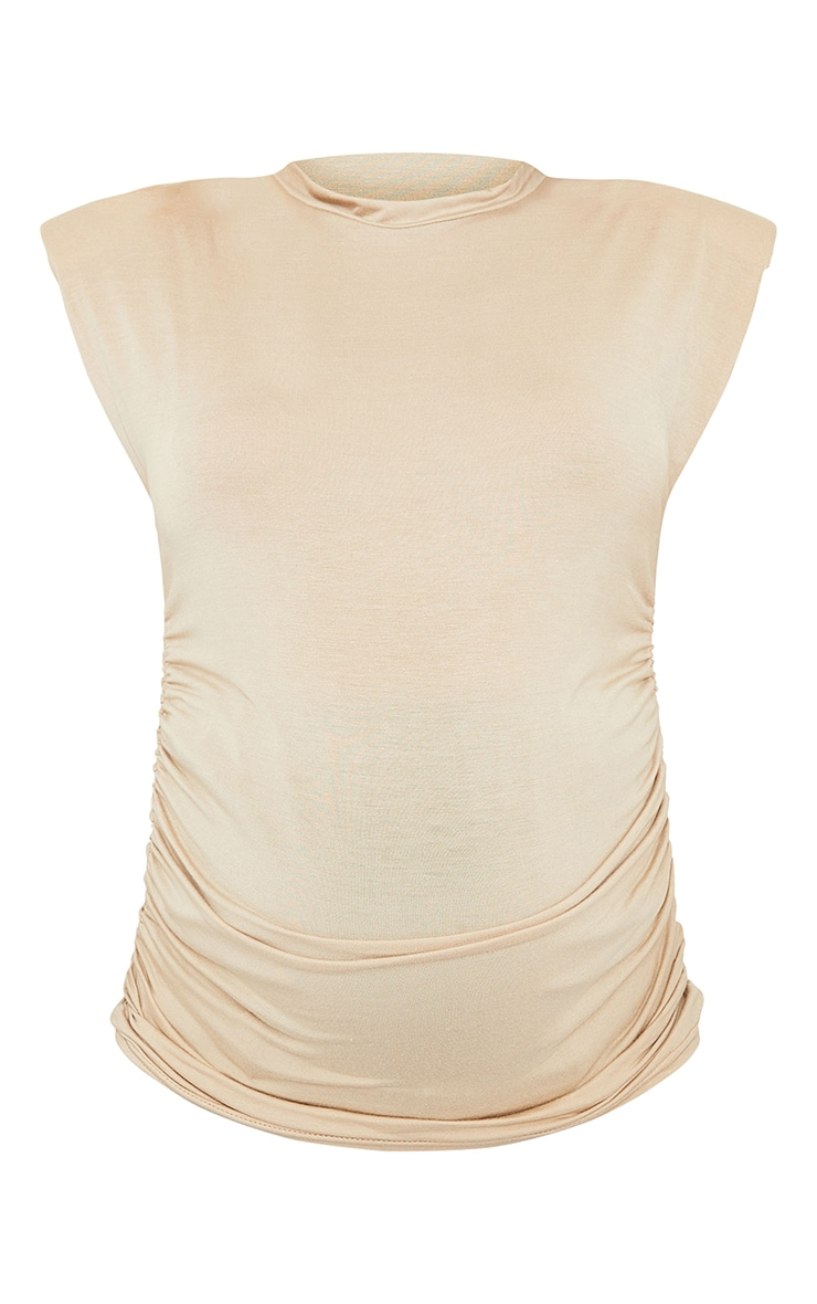 Maternity Nude Ruched Bump Shoulder Pad T Shirt 5