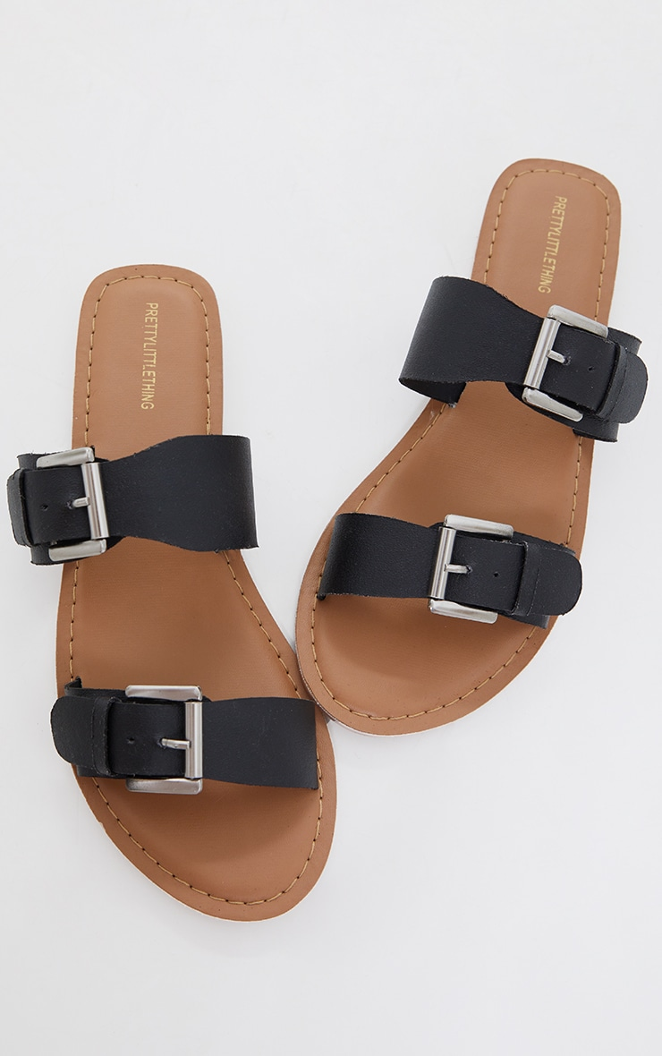 Black Real Leather Buckle Detail Double Strap Mule Sandals 3