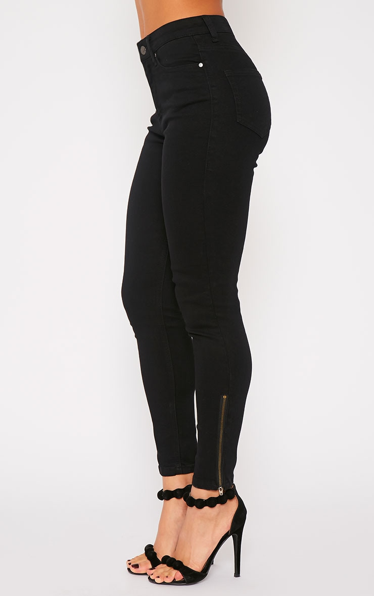 Hari Black Mid Rise Ankle Zip Skinny Jean 3