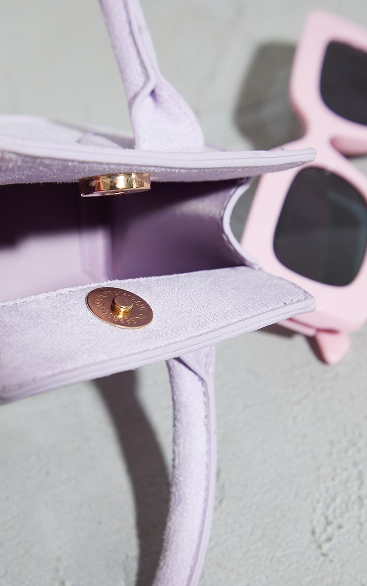 Lilac Faux Suede Triangle Mini Bag 4