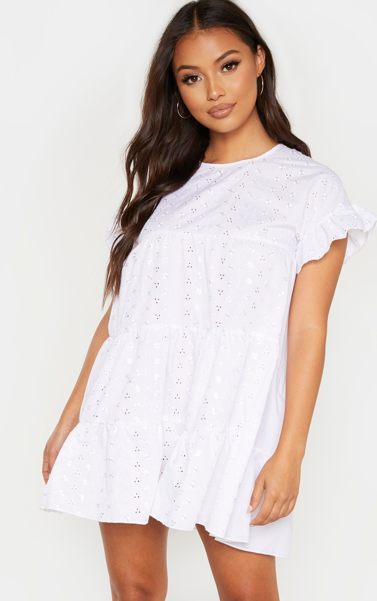Babydoll Robe Broderie Petite En Anglaise Blanche m8nwy0OvN