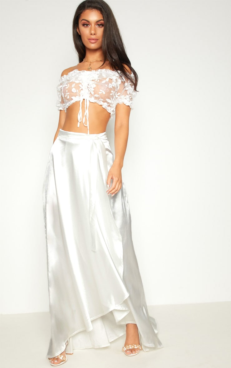 Cream Satin Wrap Maxi Skirt