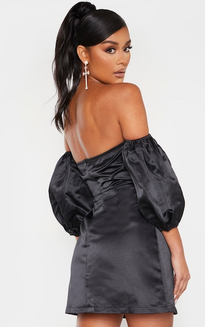 Black Bonded Satin Bardot Puff Sleeve Bodycon Dress