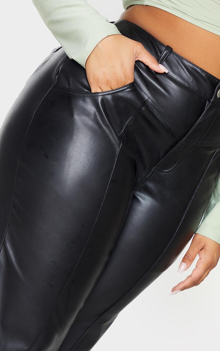 Plus Black Faux Leather Seam Detail Wide Leg Pants 4