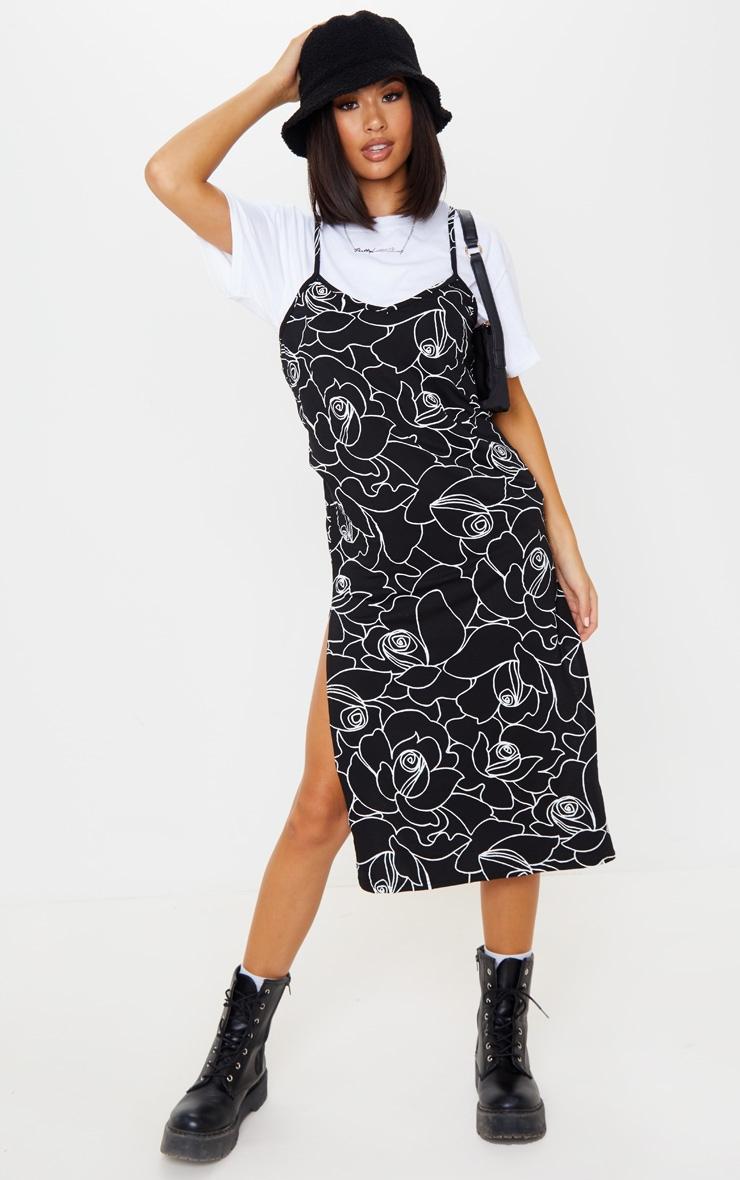 Black Scribble Print Jersey Split Cami Midi Dress 1