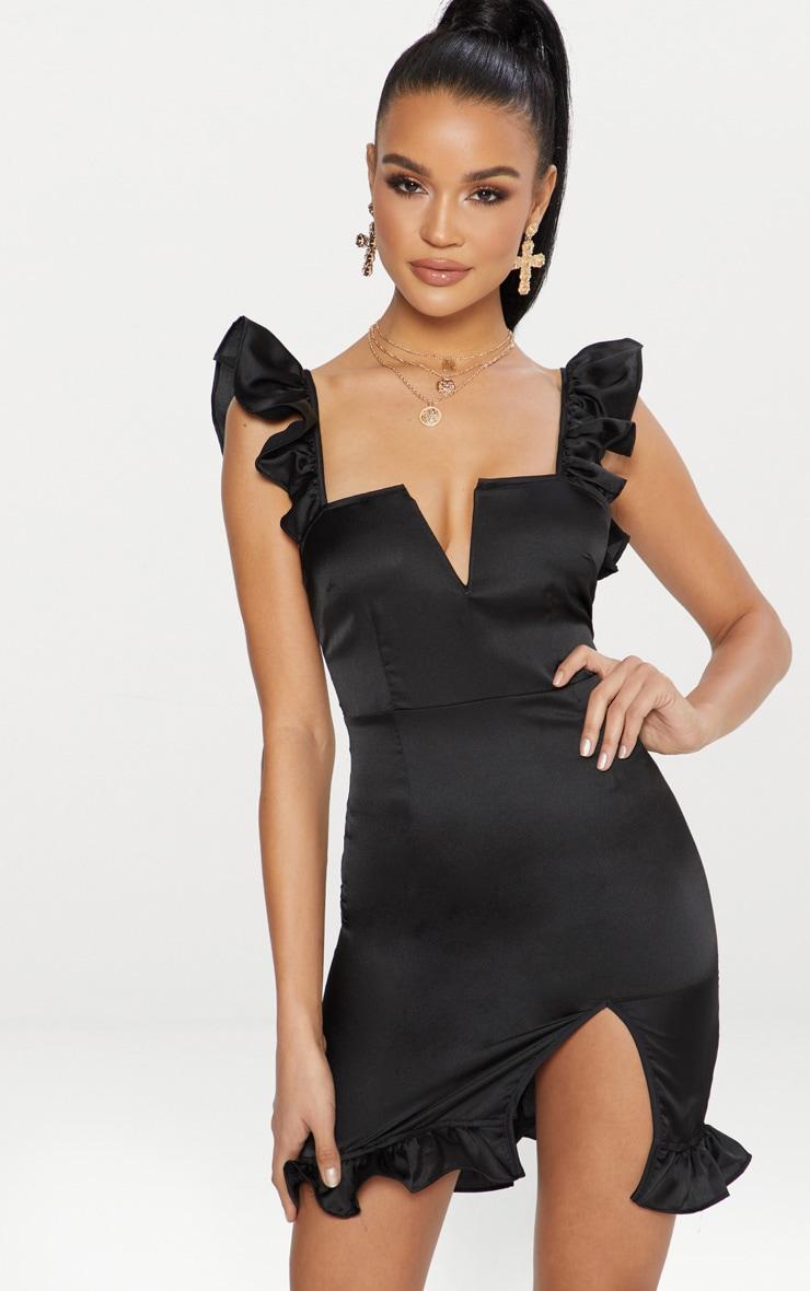 Black Satin V Bar Frill Detail Bodycon Dress 1