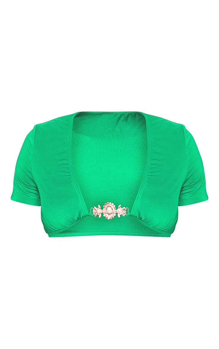 Plus Emerald Green Jewel Front T Shirt Bikini Top 5