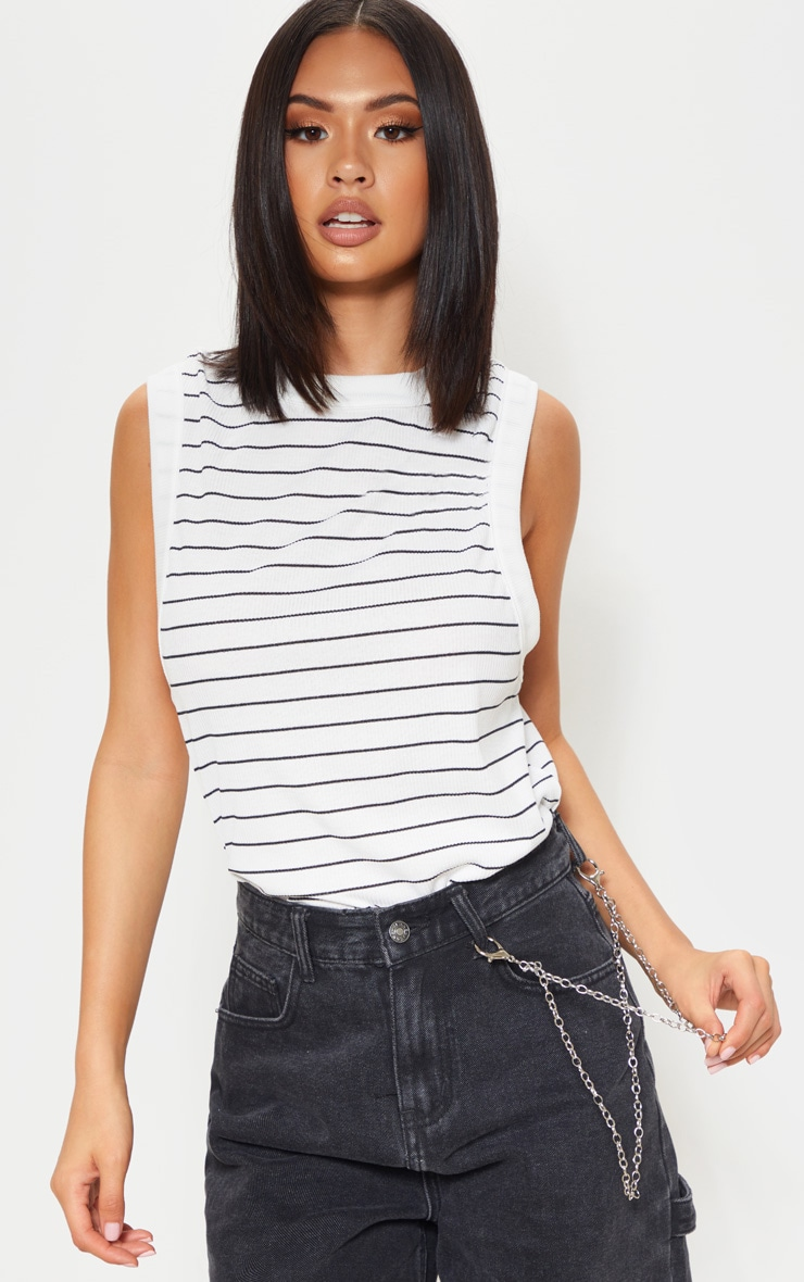 Mono Stripe Soft Rib Oversized Casual Vest 1