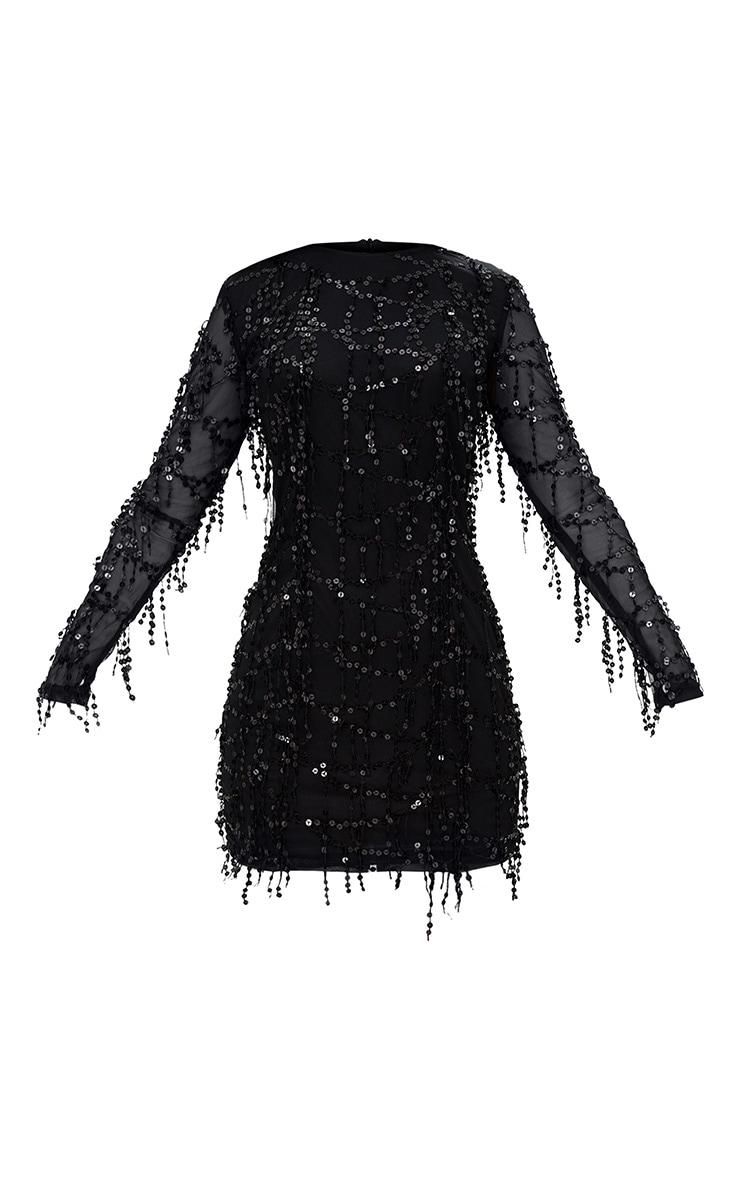 Freyana Black Sequin Detail Long Sleeve Mini Dress 3