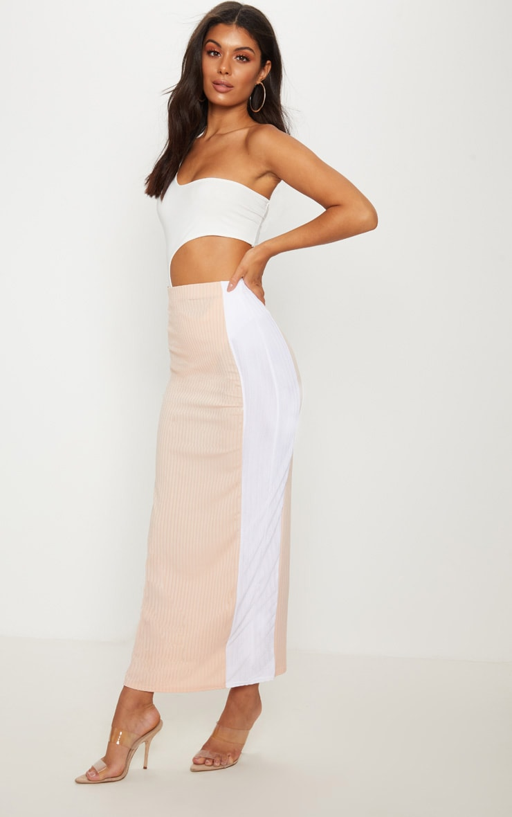 Pale Pink Colour Block Midaxi Skirt