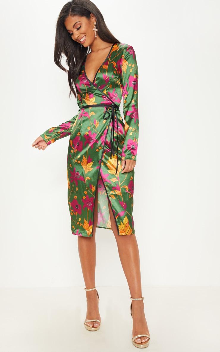 ca0c2356fc2 Green Floral Satin Binding Detail Wrap Midi Dress