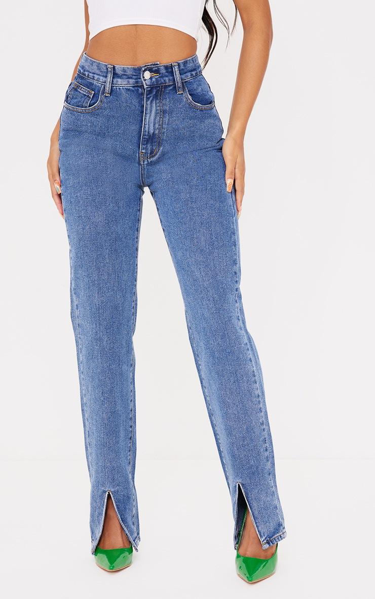 Mid Blue Wash Front Split Long Leg Straight Jeans 2
