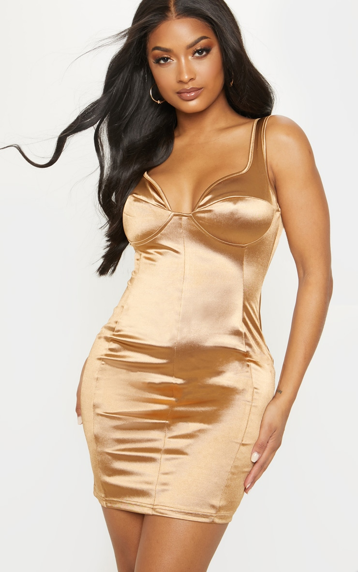 Shape Mocha Satin Bust Cup Seam Detail Bodycon Dress 1