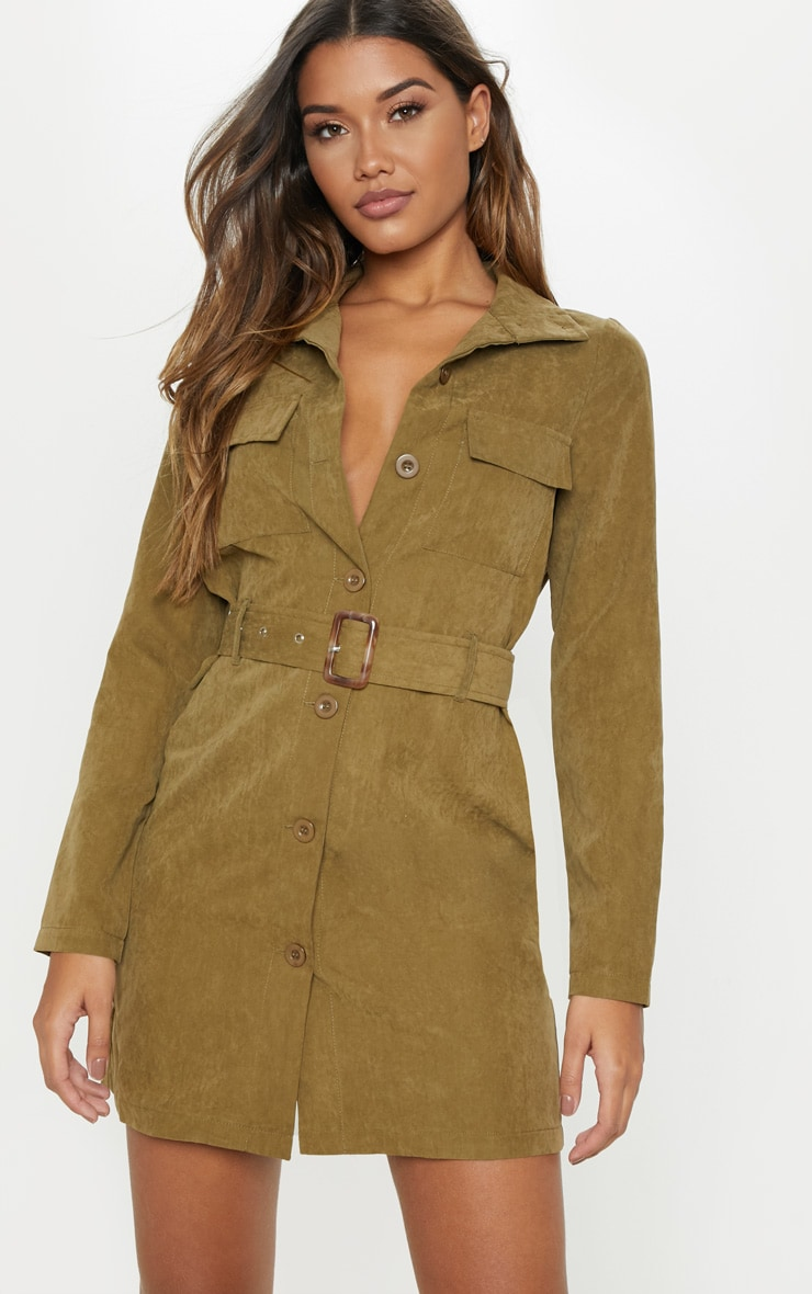 Khaki Faux Suede Button Front Belted Cargo Dress 1
