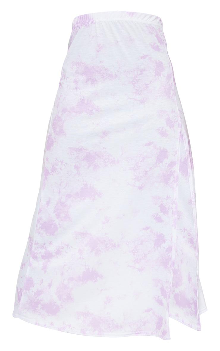 Tall Purple Tie Dye Jersey Side Split Midi Skirt 5