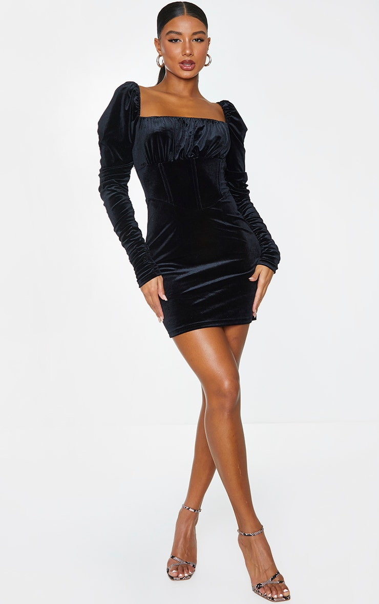 Black Velvet Ruched Sleeve Corset Detail Bodycon Dress 3