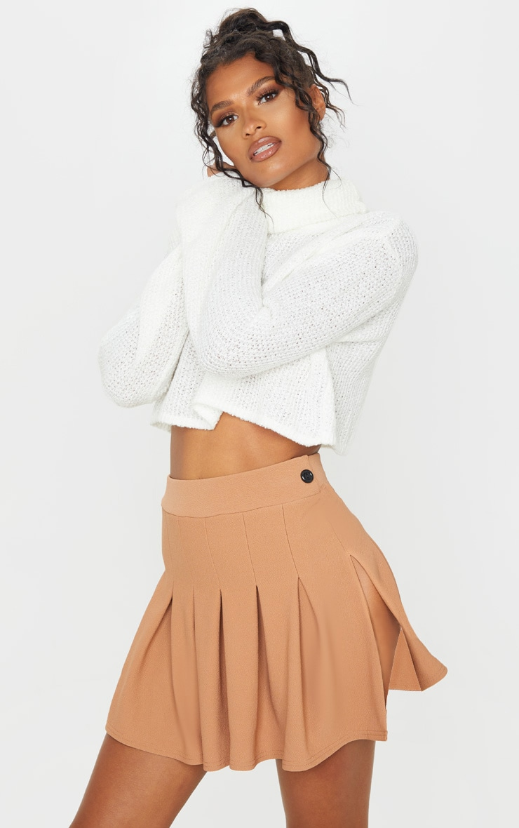 Camel Pleated Side Split Tennis Skirt 5