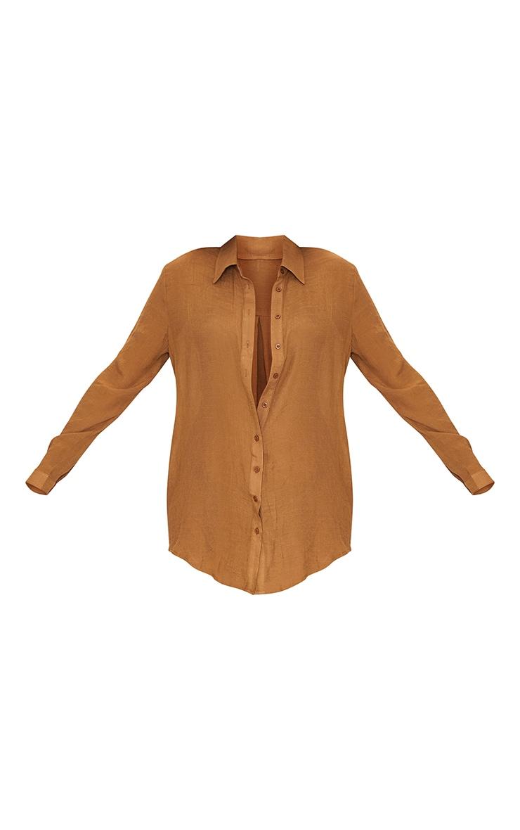 Brown Linen Look Oversized Beach Shirt 5