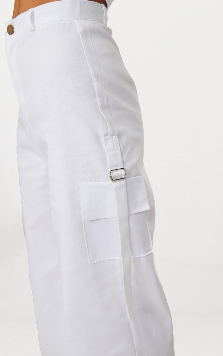 Petite White Pocket Detail Cargo Trousers 4