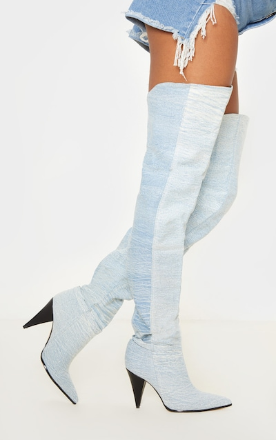 Denim Cone Heel Slouch Thigh Boot