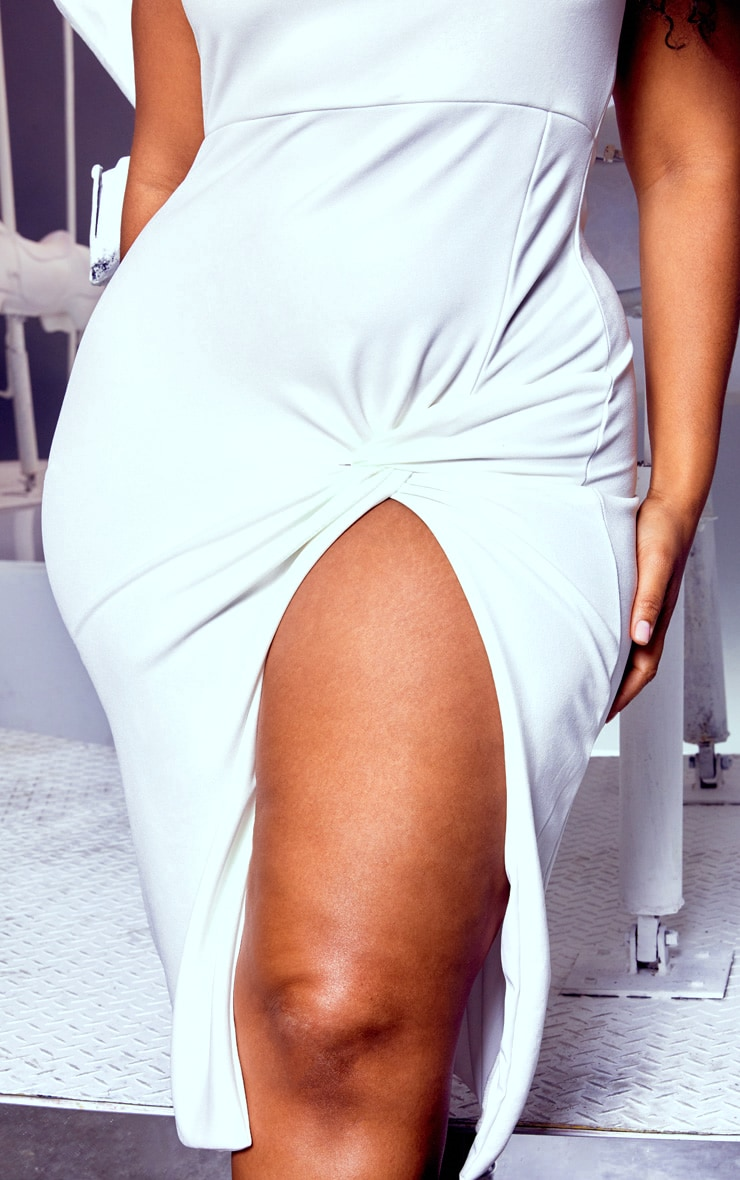 Plus White Twist Extreme Split Midi Dress 5