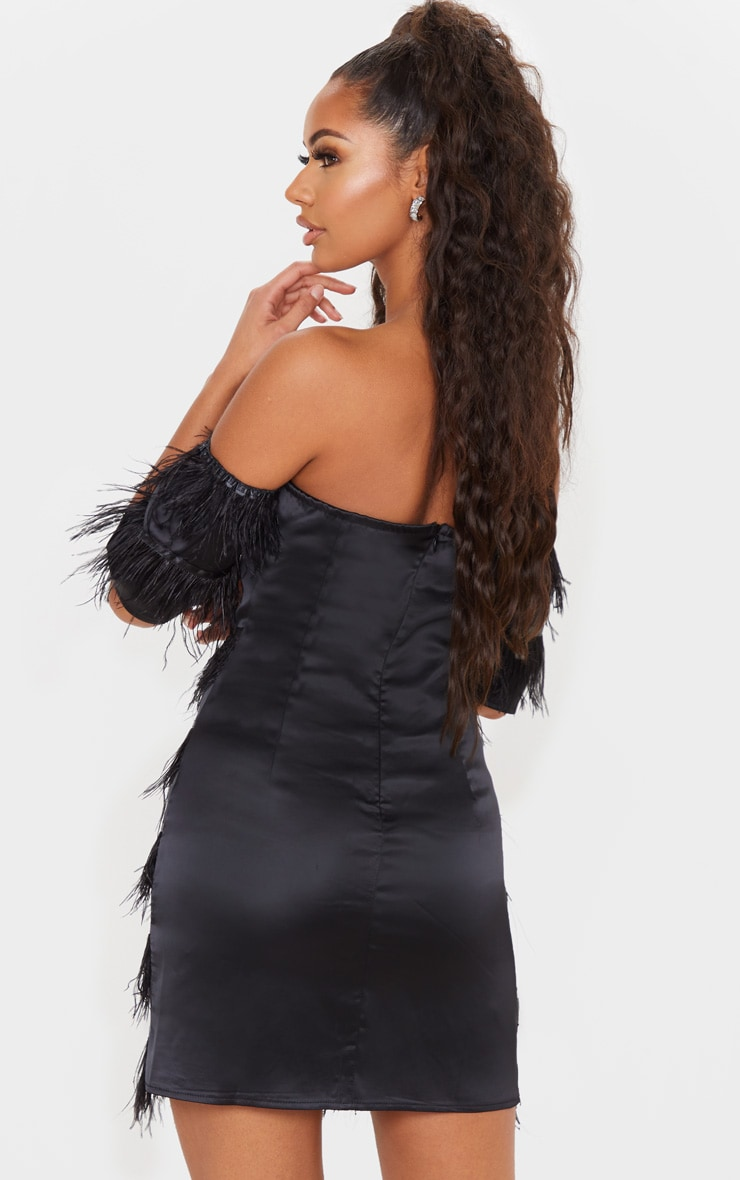 Black Satin Feather Tiered Bodycon Dress 2